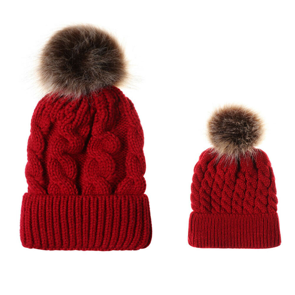 Cute Kids Girls Caps Mother Daughter Warm Knitted Cap Family Matching Children Hats And Winter Hats Newborn Baby Hat Cap Beanies