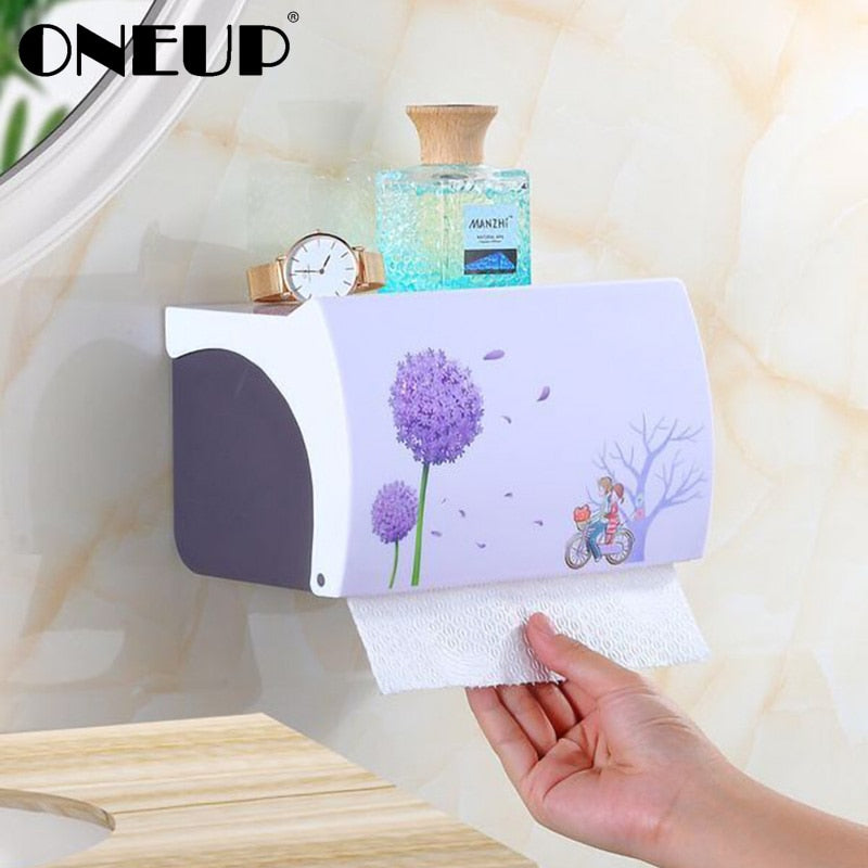 ONEUP Portable Toilet Paper Towel Holder Plastic WC Roll Paper Dispenser For Toilet Home Storage Rack Bathroom Accessories Sets