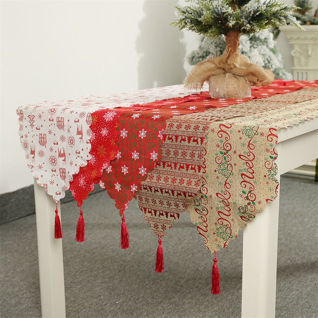 Christmas Decoration Linen Printed Table Flag Table Runner Printed Tassel Tablecloth Placemat Hotel Home Festival Decoration