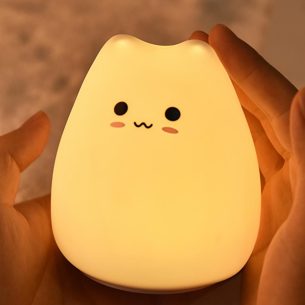 MeterMall Mini Cute Cartoon Cat Shaped Pat Light Lamp Soft Silicone Nightlight for Kids Toy Gifts Room Decor