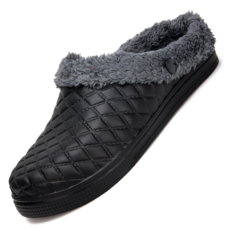 Winter Men Cotton Slippers Indoor Couples Plush Warm Slippers Mules Clogs Shoes Flip Flops Hollow Slippers Chaussures De Coton