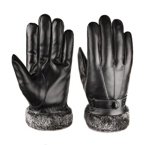 Men Leather  Winter Warm Motorcycle Ski Snow Snowboard Gloves (Black)