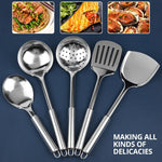 KONCO Kitchenware Cooking Utensils Set Stainless Steel Cookware Colander Spoon Spatula Shovel Turner Cooking Tools