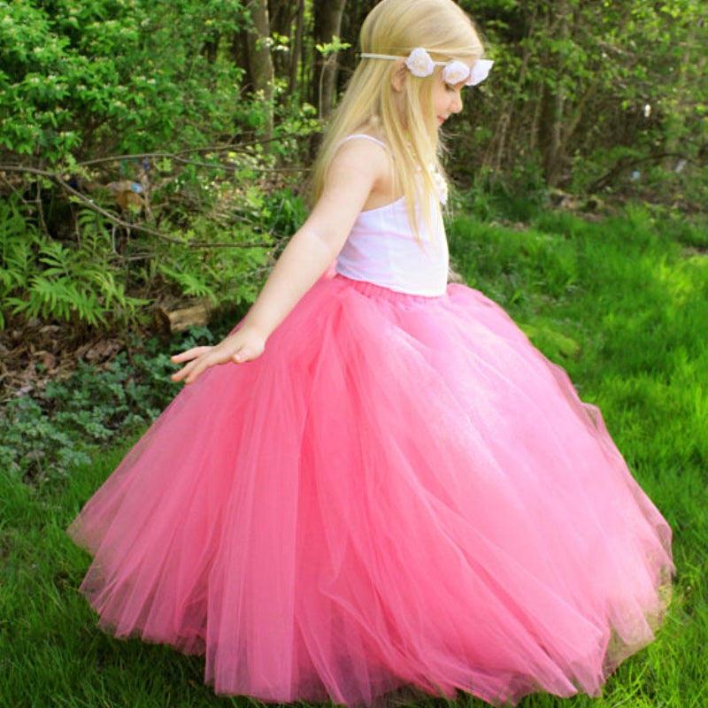 Girls Pink Long Tulle Tutu Skirts Kids Pettiskirts Underskirt Tutus Children Christmas Birthday Party Costume Photography Skirts