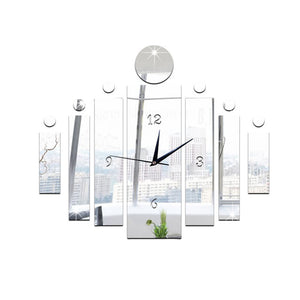 3D Fashion Mute Mirror Wall Stickers Clock Living Room Bedroom Background Wall Decoration Geometric Shape Mirror Sticker Set