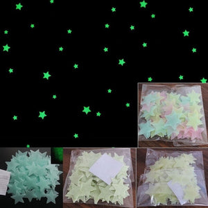 Hoomall 100pcs PVC Wall Sticker 3D Star Glow In Dark Luminous Fluorescent For Kids Room Colorful Wall Decal Home Decoration