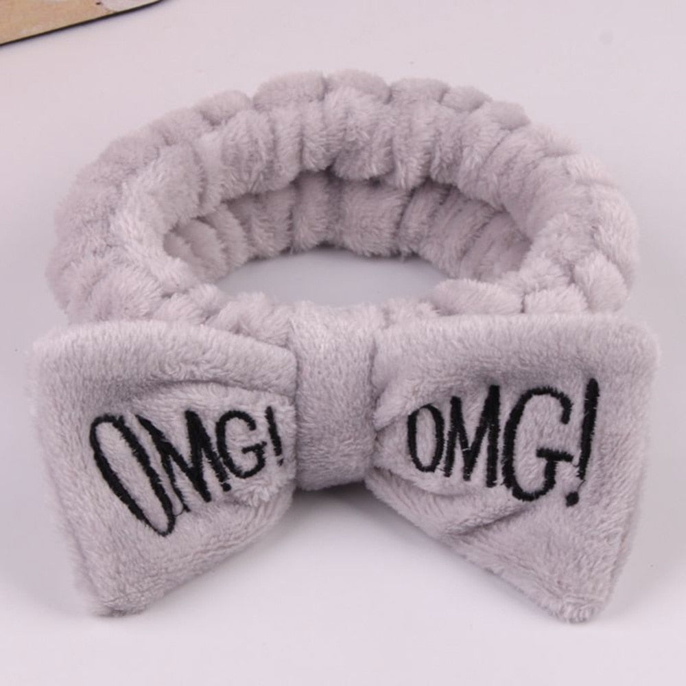 OMG Letter Coral Fleece Wash Face Bow Hairbands For Women Girls Headbands Headwear Hair Bands Turban Hair Accessories