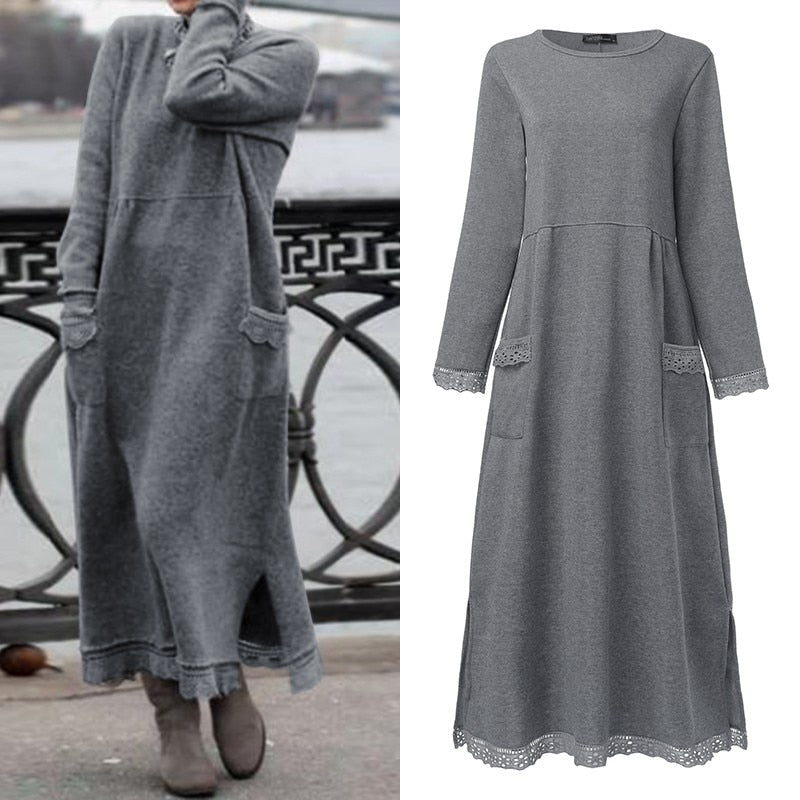Fashion Women's Autumn Sundress ZANZEA 2019 Lace Patchwork Sweatshirts Dress Female Hoodies Plus Size Maxi Vestidos Pullover 5XL