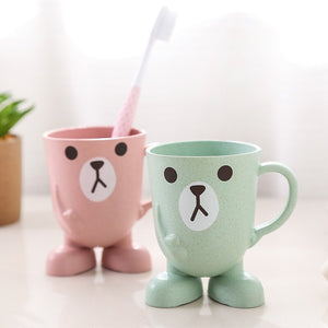Cartoon Animal Wheat Straw Toothbrush Cup Bathroom Mouthwash Home Travel Toothbrush Holder Cup Bathroom Accessories