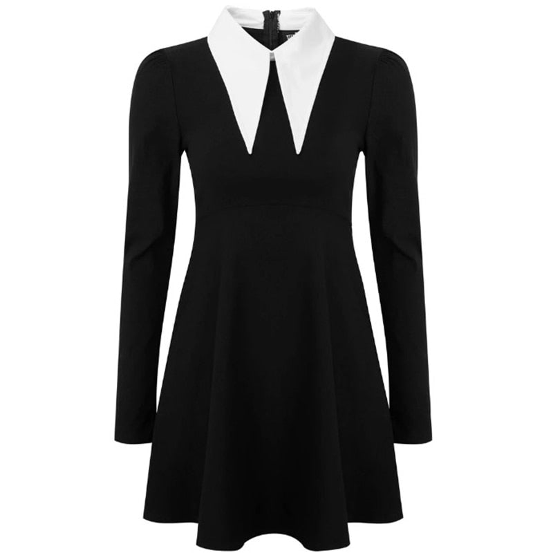 Imily Bela Gothic Turn-Down Collar Mini Dress Women Sexy Vintage Long Sleeve Empire A-line Dresses Autumn Femme Casual Vestidos