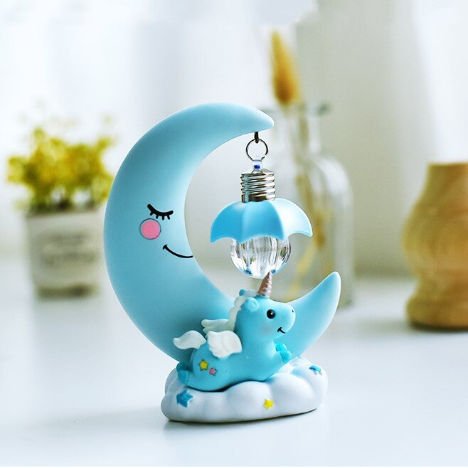 Resin Moon Unicorn LED Night Light Cartoon Baby Nursery Lamps  Children Toy Gift