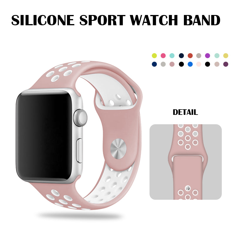 Pink/White Nike Sport Band 40mm For Apple Watch Series 4 44mm Silicone Bracelet Watch Band  38mm 42mm For Girls and Women
