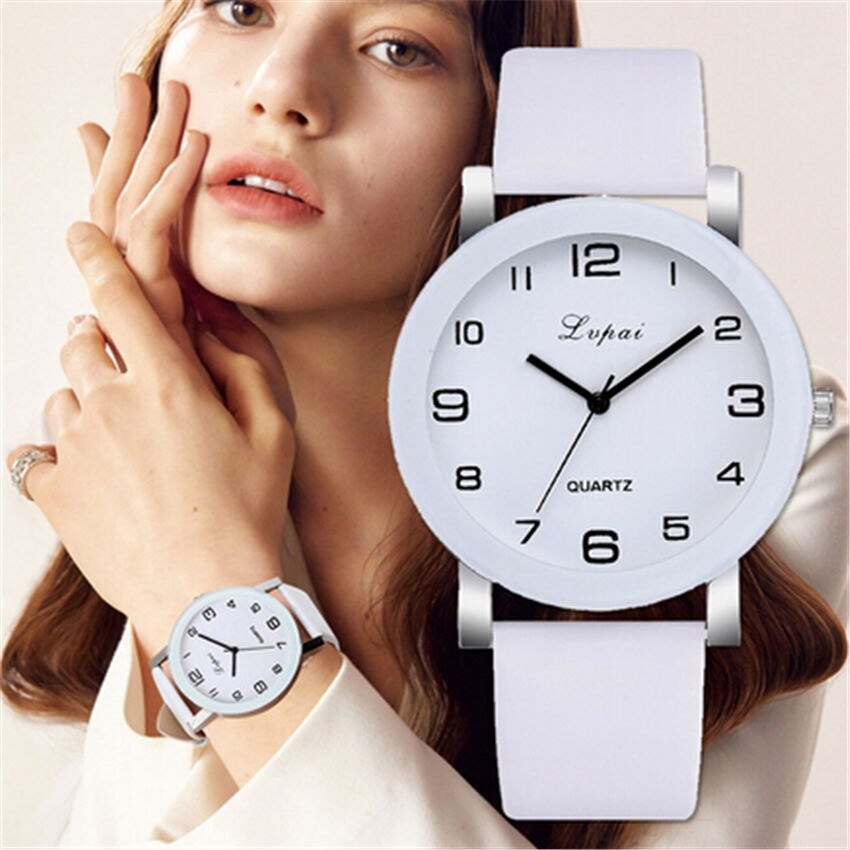 LVPAI Woman's Watch Fashion Simple White Quartz Wristwatches Sport Leather Band Casual Ladies Watches Women Reloj Mujer
