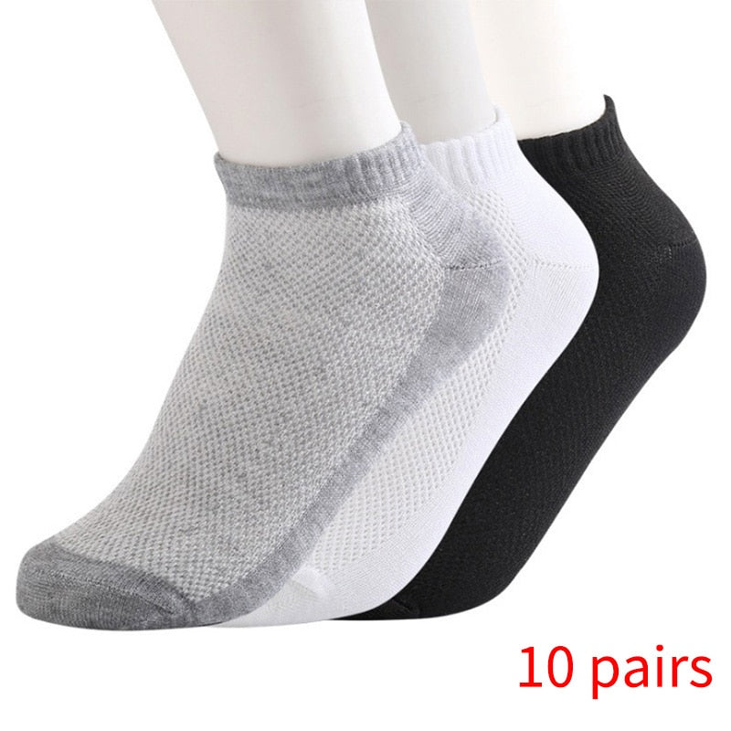 20Pcs=10Pair ECMLN Breathable Men's Socks Short Ankle Socks Men Solid Mesh High Quality Male Boat Socks HOT SALE 2019 Hot