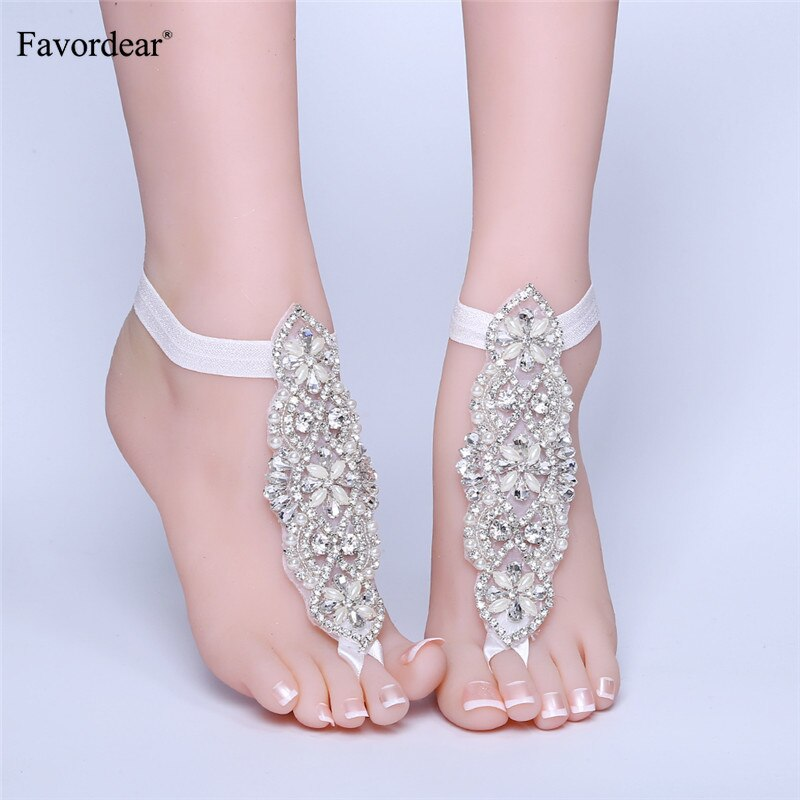 Favordear Wedding Accessories Sparkly Beading Wedding Anklets Luxurious Bridal Anklet Special Occasion Party Footwear Anklets