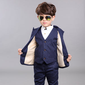 Child Autumn Winter Formal Blazer Vest Pants 3PCS Suits Sets Boys Wedding Party Outfits Kids Dresses Tuxedo Flower Boys Cosutme