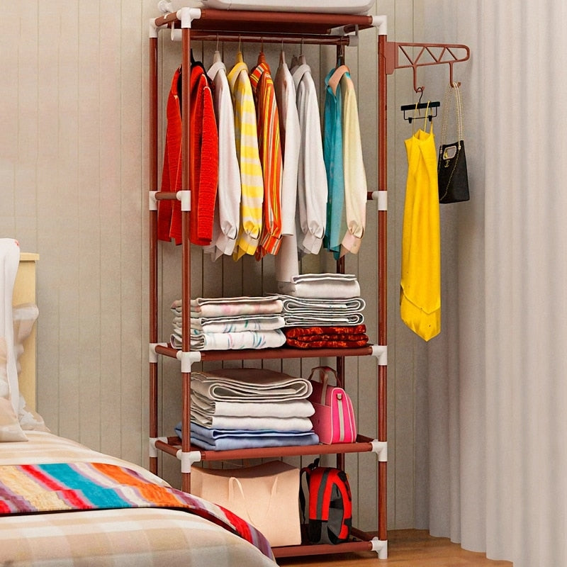 Bahmetev Simple Metal Iron Coat Rack Floor Standing Clothes Hanging Storage Shelf Clothes Hanger Racks Bedroom Furniture