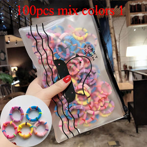 50/100pcs/Set Girls Colorful Nylon Small Elastic Hair Bands Children Ponytail Holder Rubber Bands Headband Kids Hair Accessories