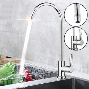 Kitchen Water Filter Faucet Chrome Plated 1/4 Inch Connect Hose Reverse Osmosis Filters Parts Purifier Direct Drinking Tap water