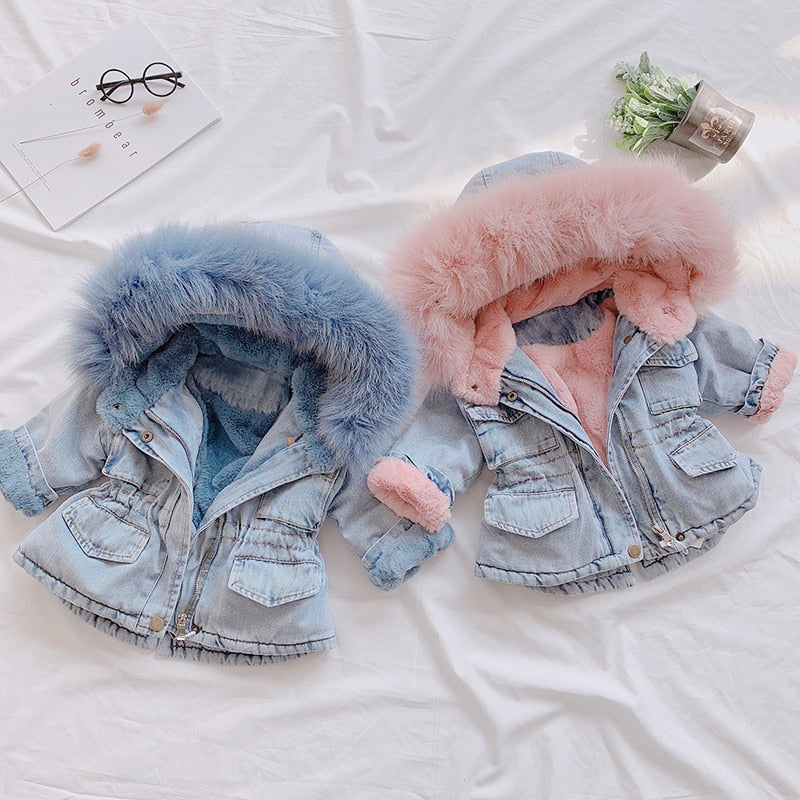 2019 New Denim Jacket for Girl's Toddler Children AUTUMN &WINTER Outerwear Fashion Outfits Kids Jacket Girl Coats Kids Clothes