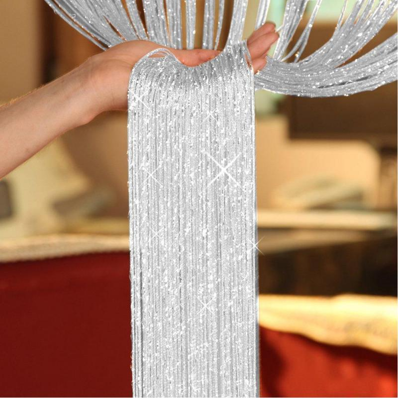 1x2m String Curtain Shiny Tassel Line Curtains For Living Room Kitchen Window Door Divider Drape Decor Valance