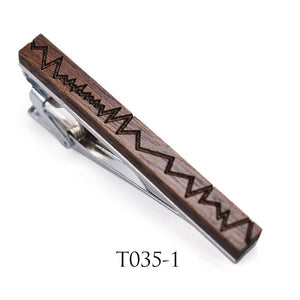 Classic Tie Bar Luxury French Men Wood Jewelry Simple Neck Tie Clips Pin wooden Tie Pin Gifts For Mens Wedding Business Party
