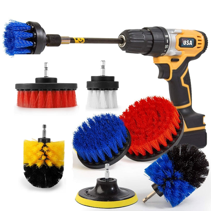 3-piece Power Sink Brush Set Power Scrubber Cleaning Kit/Toilet Brush/Bathroom Shower Cleaner/Tub and Floor Scrubber D30