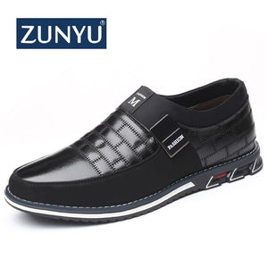 ZUNYU Autumn winter plush warmth Oxfords Leather Men Shoes Fashion Casual Slip On Formal Business Wedding Dress Shoes Big Size