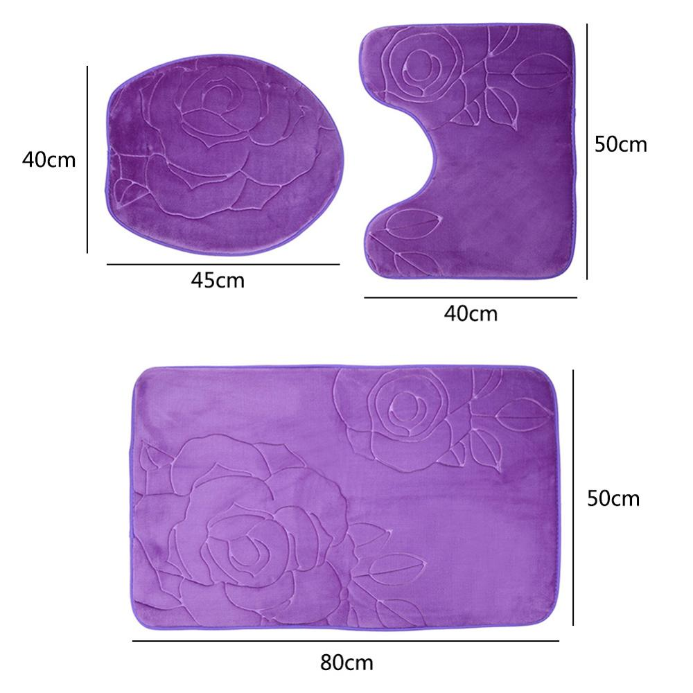 3pcs/set Bath Mat Carpet Set Kit Flannel Anti-Slip Kitchen Bathroom Mats Set Carpet Toilet Rug Washable Car Seat Floor Mat Pad