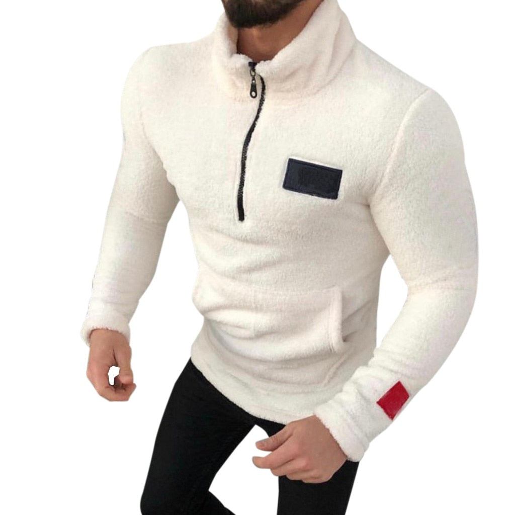 2019 Hoodies Men New Fashion Brand pullover New Style ZipperPure-Colour Sanitary Clothes Fleece moletom sweatshirt