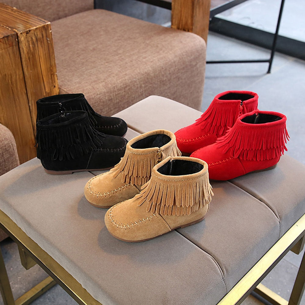 kids boots winter autumn Infant Girls Boys Winter Fringe Tassel Ankle ZIP Snow Boots Shoes girls boots leather сапоги детские