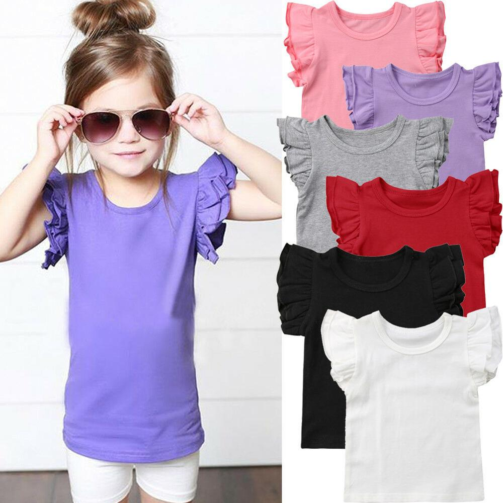 2020 Newborn Toddler Baby Girls Sleeveless  Tops T-Shirts Casual Ruffles comfortable summer infant baby girlOutfits 0-4T Hot