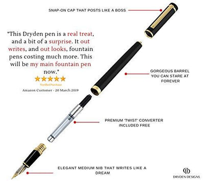 DRYDEN Luxury Fountain Pen with Ink Refill Converter