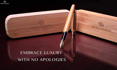 DRYDEN Luxury Bamboo Fountain Pen with Ink Refill Converter and Matching Gift Case