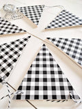 gingham, Check Banner, Black & White Plaid Wood Banner , Wood Bunting Flags , Bunting , Bunting Flags , Garland , Flags