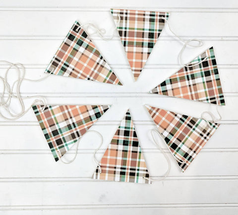 Fall plaid Wood Banner, Wood Banner , Plaid Banner, Fall Bunting