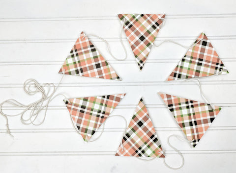 Orange Fall Plaid Wood Banner, Wood Banner, Fall Banner, Fall Bunting