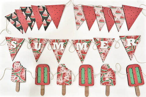 Summer Watermelon Wood Banner