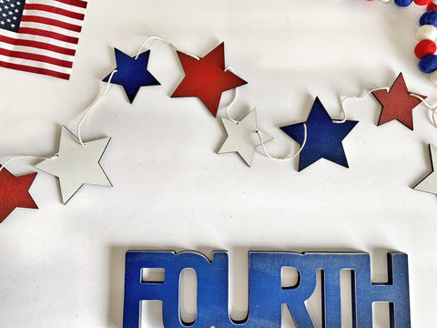 Red White & Blue Wood Star Banner
