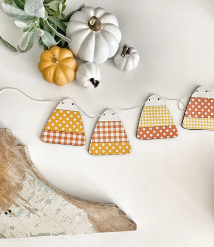 Candy Corn Wood Banner , Candy Corn Banner , Candy Corn Garland , Wood Banner