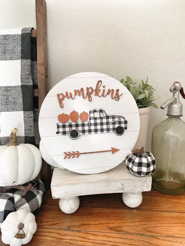 Circle Pumpkin Truck Sign