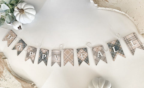Neutral Plaid Wood Banner , Neutral Fall Banner , Fall Plaid Banner, Autumn  Banner , Wood Banner