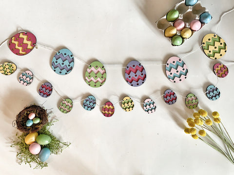 Pastel Easter Egg Banner Wood