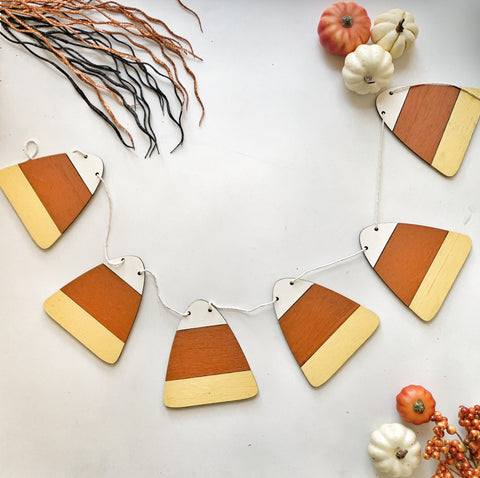 Candy Corn Wood Banner
