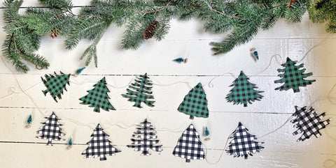 Plaid Christmas Trees Wood Banner