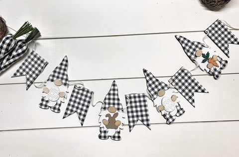 Easter Gingham Wood Gnome Banner