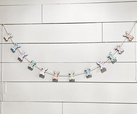 Mini Pastel Wood Bunny Banner