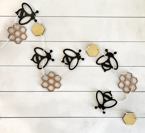 Laser Cut Wood Bee Banner