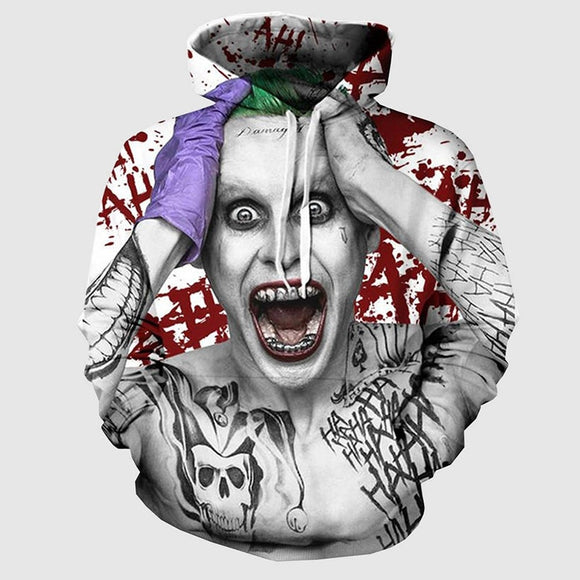 Autumn Fashion Harajuku Suicide Squad Joker Thin Cap Unisex Sweatshirts 3d Print Men/women Hooded Hoodies Casual Hoody Tops with