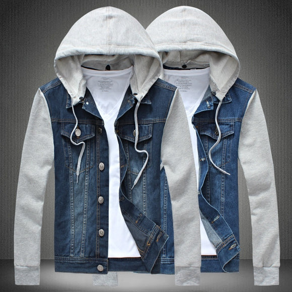 2015 New Men Winter Casual Streetwear Jeans Jacket With hooded Coat